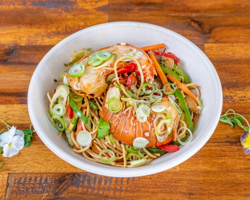 Wok-fried Lobster/crayfish, noodles, veggies, soy