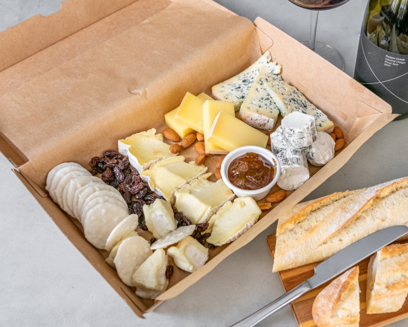 Cheese Platter - selection of cheeses from France and New Zealand, Crackers, Dried Fruits and condiments