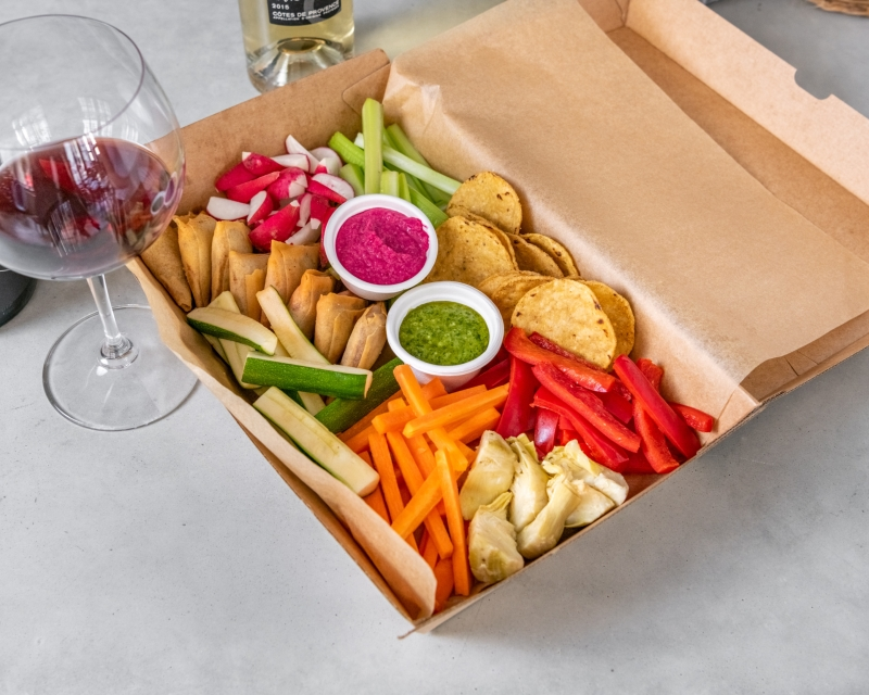 Veggie Platter - a variety of crudités, pickles, beetroot hummus, pesto, crackers and samosas
