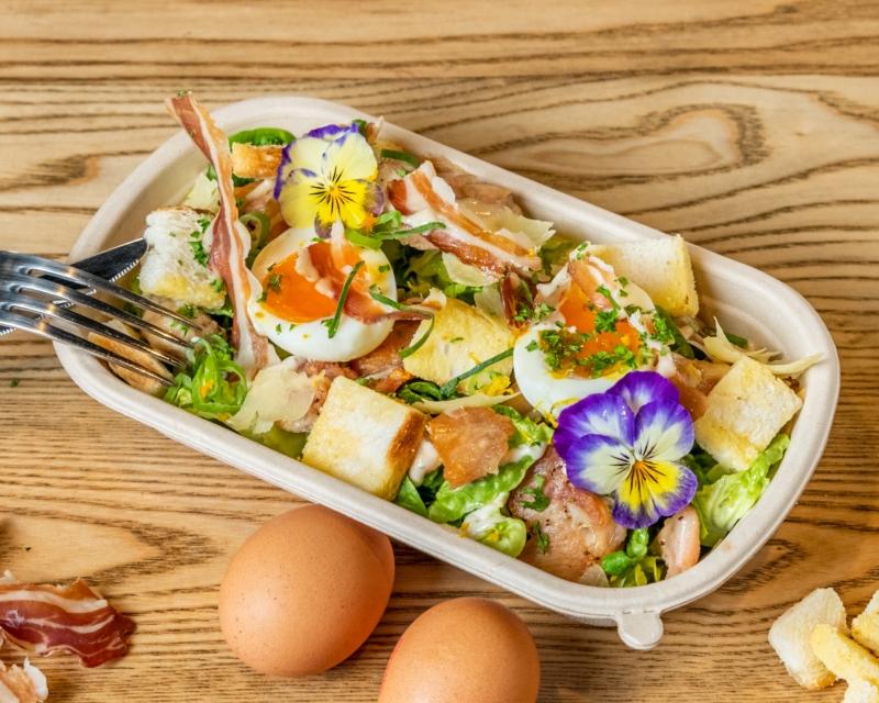 Classic Caesar Salad, prosciutto, parmesan, crouton, hens egg
