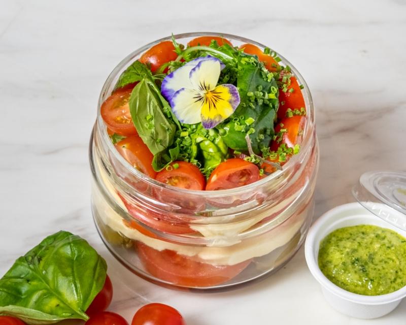 Tomato Salad, mozzarella, basil, olive, pesto